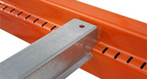 Lock-in pallet rack safety bars